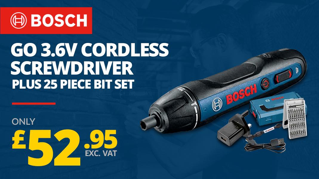 BOSCH GO 3.6V CORDLESS SCREWDRIVER & 25 PIECE BIT SET 06019H2170