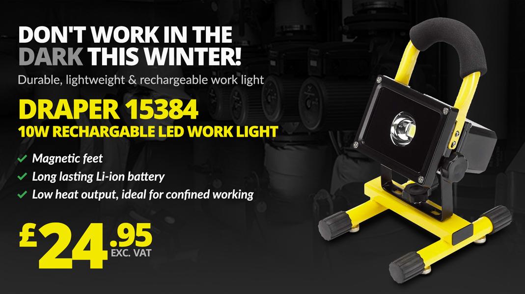 DRAPER 15384 10W RECHARGABLE LED WORK LIGHT WITH MAGNETIC FEET 600 LUMENS