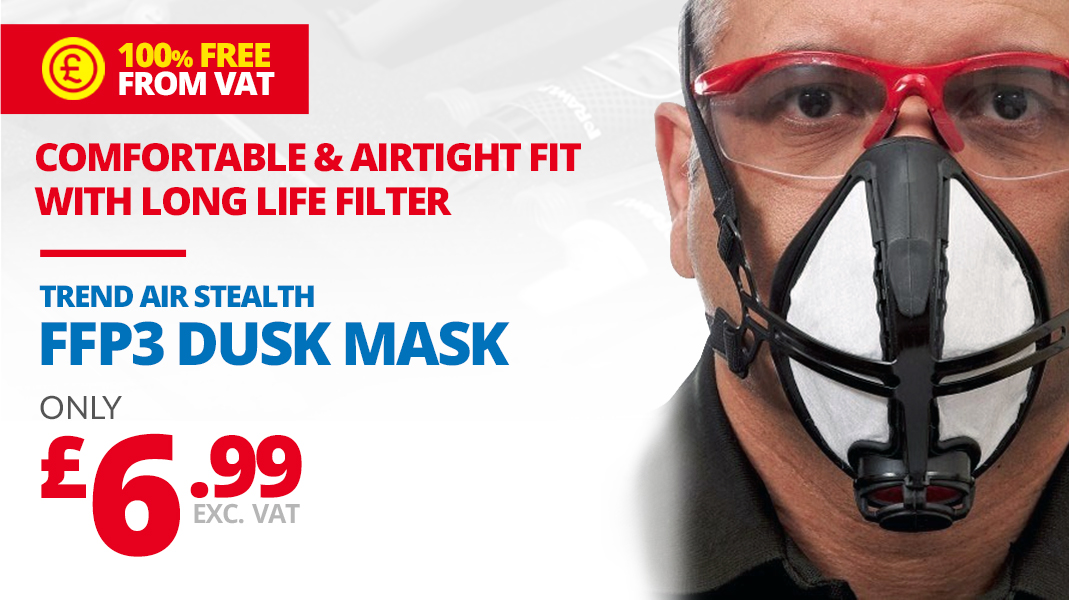 TREND AIR STEALTH LITE PRO FFP3 MASK FITTED WITH A­­­­­­ LONG LIFE FILTER